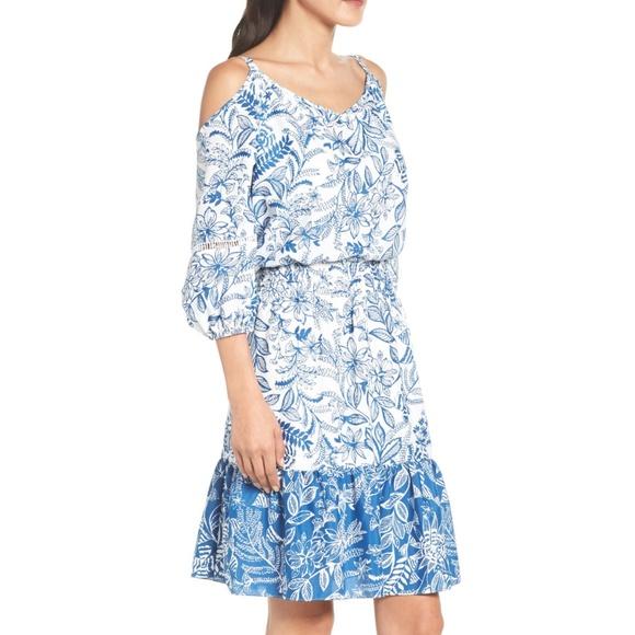 Eliza J Dresses & Skirts - NWT Eliza J cold shoulder blue printed dress